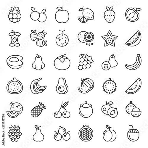 Poster Cuisine Cute fruit and berries outline icon set 2
