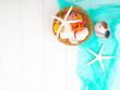 seashells, sea stones, sea concept, vacation, copy space, flat lay