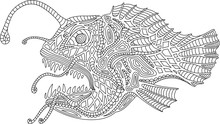 Coloring Book Page With Angler...