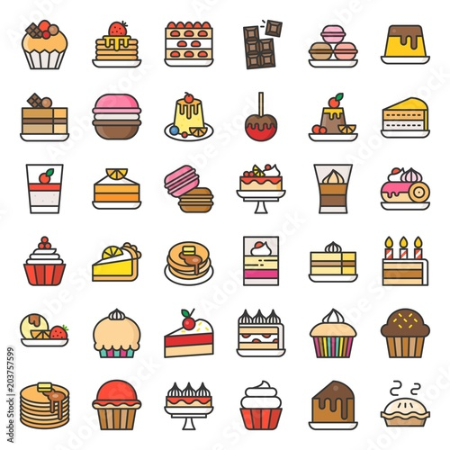 Photo  Sweets and dessert icon, filled outline