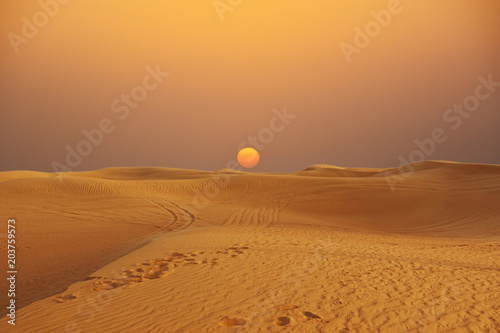 Foto op Plexiglas Zandwoestijn Scenic sunset over Arabian Desert with sand dunes, wilderness desert landscape or panorama