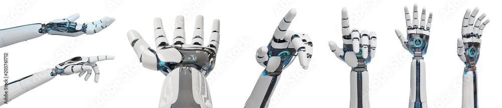 Fototapeta White cyborg pointing his finger 3D rendering