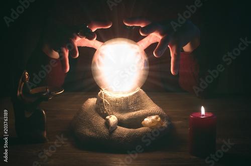 Fototapeta Crystal ball and fortune teller hands