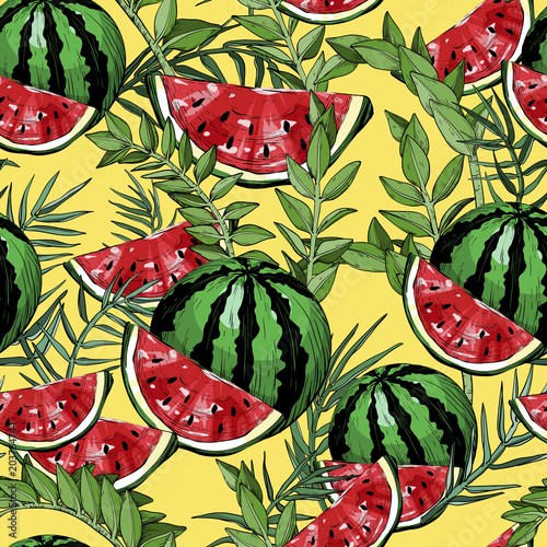 Cotton fabric Seamless pattern with watermelons and green tropical leafs and plants