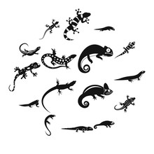 Lizard Icons In Simple Style. ...