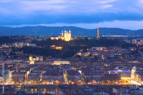 Garden Poster Vienna Aerial view of Old town with Fourviere cathedral during evening blue hour in Lyon, France