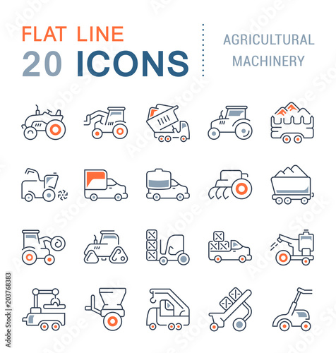 Foto  Set Vector Line Icons Agricultural Machinery.