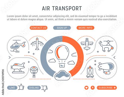 Fotografia  Website Banner and Landing Page of Air Transport.