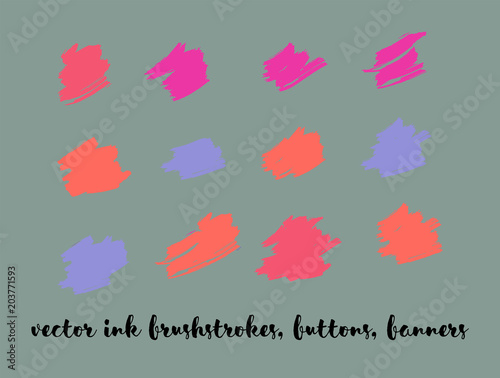 Fotobehang Pixel Ink Paint Vector Painted Backgrounds. Bright Colored Brushstrokes, Nice Textures Set. Artistic Colorful Button Collection. Grunge Dirty Vector Painted Backgrounds. Paintbrush Smeared Borders.