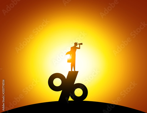 Pinturas sobre lienzo  Silhouette Man looking through telescope standing on top of percentage sign
