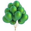 canvas print picture Green balloons birthday party decoration. Happy holiday celebration balloon bunch classic. 3d illustration isolated