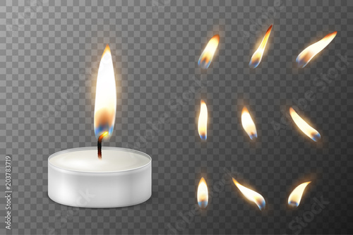 Leinwand Poster Vector 3d burning realistic candle light or tea light and different flame of a candle icon set closeup isolated on transparency grid background