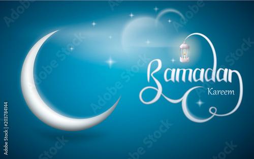 Ramadan kareem vector design with lantern and crescent moon. Wallpaper design on the occasion of Muslim's Holy Month Ramadan Kareem. Vector illustration.
