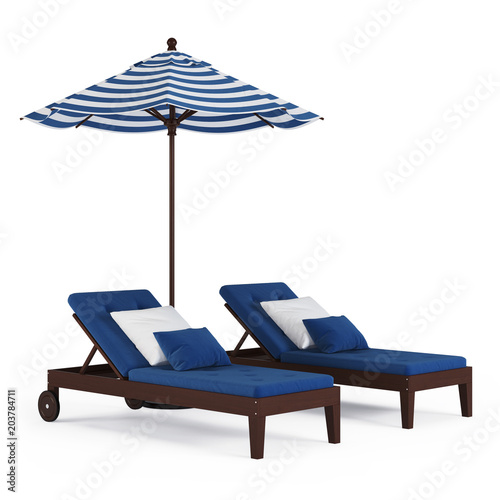 Fotografija Chaise lounge with umbrella on white background. 3D rendering.