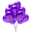 canvas print picture - Purple balloon bunch, birthday party decoration blue, glossy helium balloons violet translucent. Holiday anniversary celebrate invitation greeting card design element. 3d illustration