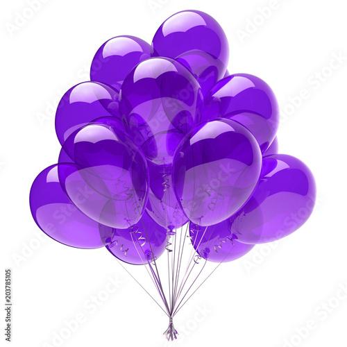 canvas print motiv - snake3d : Purple balloon bunch, birthday party decoration blue, glossy helium balloons violet translucent. Holiday anniversary celebrate invitation greeting card design element. 3d illustration