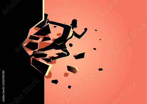Businesswoman breaking the wall Canvas