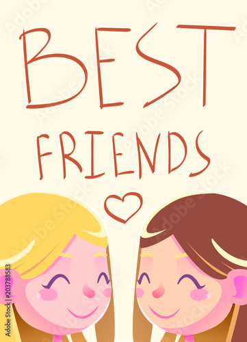 Best Friends Illustration Friendship Concept Banner Background