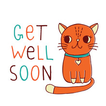 Get Well Soon, A Card With A Hand Drawn Red Cat