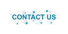 Contact Us Vector Banner. Word...
