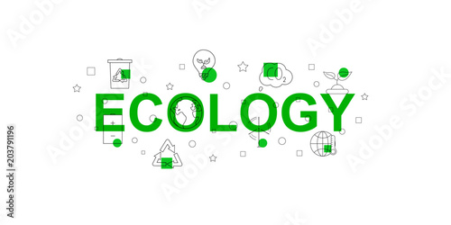 Fotografía  Ecology vector banner. Word with line icon. Vector background