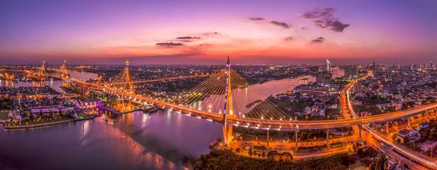 Fototapeta Bangkok cityscape view with Bhumibol bridges
