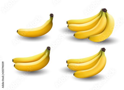 Fototapeta realistic illustration bananas, 3d vector icons