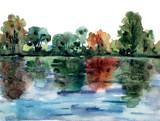 Krajobraz z drzewami na brzegu rzeki, odbite w wodzie. Abstrakcjonistyczny akwarela obraz. - 203802585