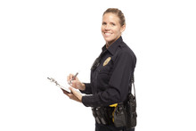 Smiling Female Police Officer Writing Report