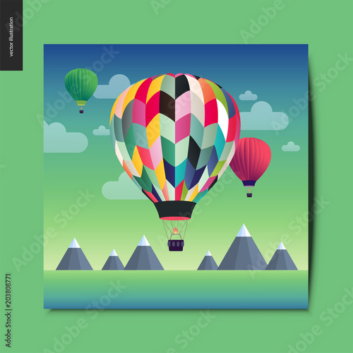 Simple things - hot air balloons above mountains on the background, summer lands Wallpaper Mural