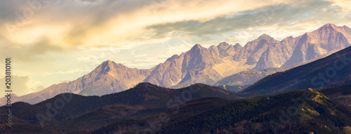 part of High Tatra mountain ridge at sunset. view from Poland side
