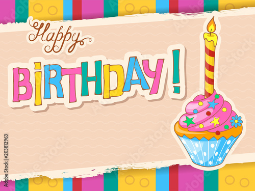 Colorful Birthday Card With Festive Doodle Cupcake Buy This Stock