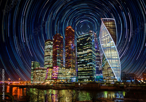 Staande foto Aziatische Plekken Moscow International Business Center at night with bright stars trails. Moscow, Russia. Elements of this image furnished by NASA.