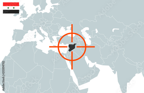 Syria on world map in perspective. Vector illustration – kaufen Sie ...