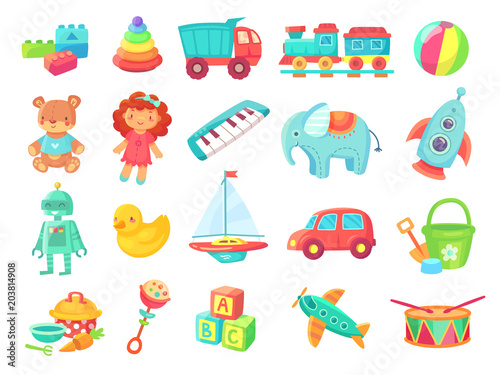 Obraz Kids cartoon toys. Baby doll, train on railway, ball, cars, boat, boys and girls fun isolated plastic toy vector collection - fototapety do salonu
