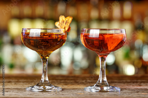 A set of cocktails on the bar