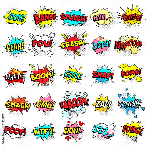 Fototapeta Exclamation texting comic signs on speech bubbles