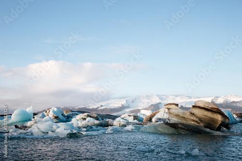 Poster Glaciers Blue twilight landscape of Jokulsarlon Lagoon, Iceland.