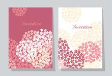 Rose Hydrangea Round Bouquet Card Template.