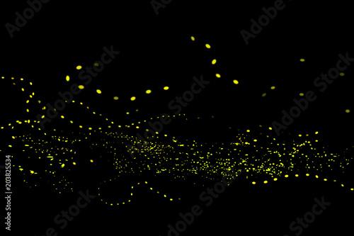 Firefly, lightning bugs on black background Wallpaper Mural