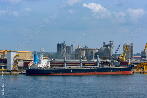Foto op Canvas Poort Bulk carrier vessel in port.