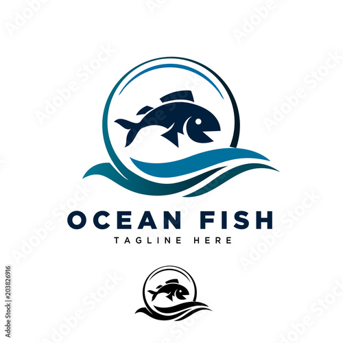 Ocean fish fly logo Canvas Print