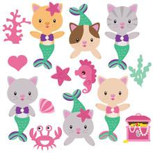 Cute Mermaid Cat Vector Cartoon Illustration