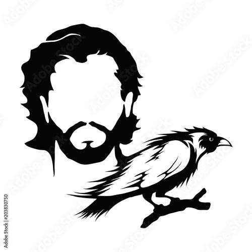 Photo  Jon Snow and raven illustration