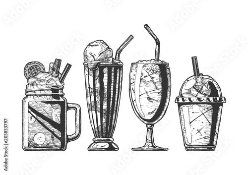 Fotografie, Obraz  Set of different milkshake