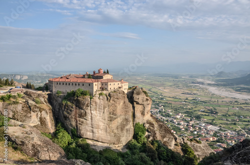 Foto op Aluminium Bleke violet Monastery Meteora Greece. Stunning spring panoramic landscape. View at mountains and green forest. Unesco heritage list object.