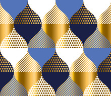 Navy Blue And Gold Luxury Geom...