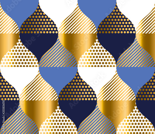 Cuadros en Lienzo  navy blue and gold luxury geometry pattern