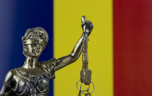 Human Rights Act And Justice Concept , Romania Flag