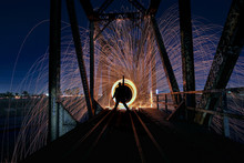 Unique Creative Light Painting With Fire And Tube Lighting